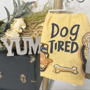 Dog Tired Dish Tea Towel Primitives By Kathy